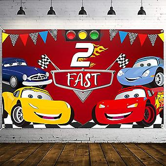 Race Car Birthday Party Backdrop Decors, Fast Photo Background Banner, Wall