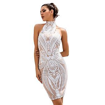 Sexy White Retro Sequins Halo Bodycon Party Dress