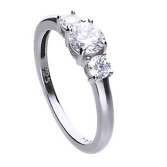 Diamonfire Womens 925 Sterling Silver Rhodium, Palladium &Platinum Plated Clear Cubic Zirconia Claw Set 3 Stone Ring