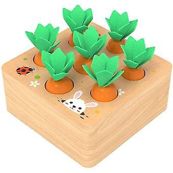 Drewniane zabawki Baby Montessori Drewniany zestaw zabawek ciągnący kształt marchwi pasujący do marchewki | Zabawki matematyczne