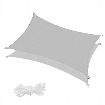 Schaduwdoek 300 x 200 cm - grijs - met montage touwen