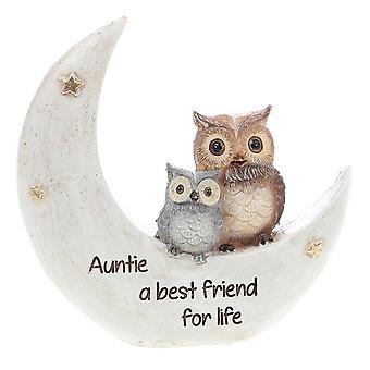 Joe Davies Nattugglor på månen Auntie Handmålad harts figurin 311054