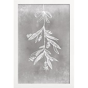 JUNIQE Print - Mistletoe - Botanikaffisch i grått & vitt