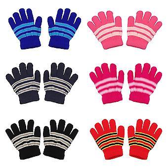 6 párov Detské' Zimné rukavice Neutrálne teplé pletené rukavice Plné prsty