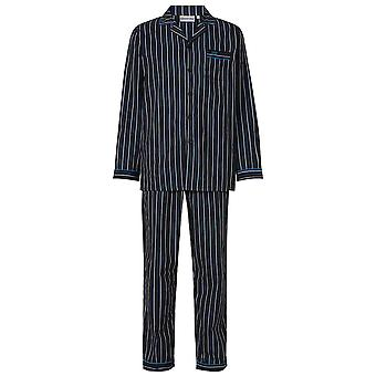 Slenderella WR8801 Men's Black Striped Cotton Long Sleeve PJ Set