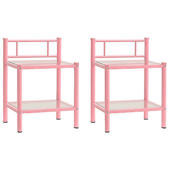 vidaXL Bedside Pöydät 2 Kpl. Vaaleanpunainen Läpinäkyvä Metalli ja Lasi