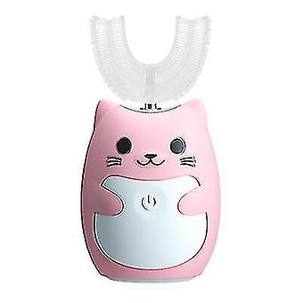 U-shaped children's electric toothbrush,Sonic automatic toothbrush(Pink)