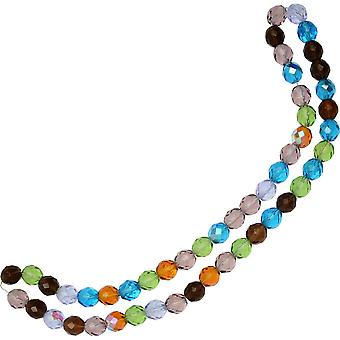 Czech Fire Polished Glass Beads, Faceted Round 10mm, 50 Pieces, Prairie Mix