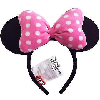 1pc Pink Headdress Head Hoop Mickey Minnie Mouse Ears Girls Hair Bands Head Hoop Plush Toys Bag