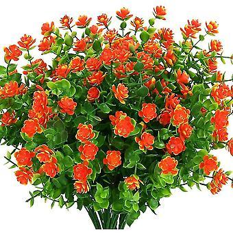 Artificial Fake Flowers Outdoor, Fake Plastic Greenerywedding Farmhouse Decor 8 Pcs Red Lotus(Sunset