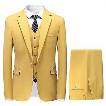 Mile Mens Single Breasted 3 Piece Suit Light Weight Summer Tailored Fit Jacket Waistcoat Trousers Yellow