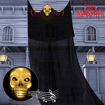 Halloween Hanging Ghost Decoration, Scary Flying Horror Skull Props(Black)