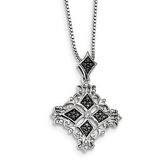 925 Sterling Silver Polished Prong set Spring Ring Rhodium Plated Black and White Diamond Pendant Necklace Jewelry Gifts