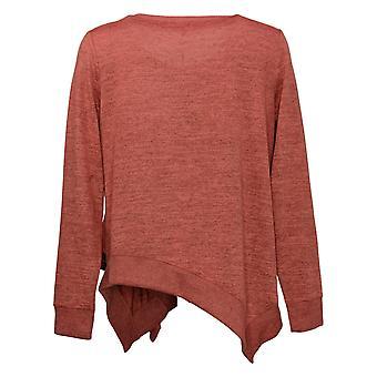 DG2 by Diane Gilman Women's Sweater Ruffle Side Knit Pink 686761