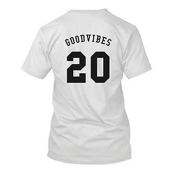 Hyvä fiilis 20 takaisin tulosta Miesten T-paita Trendy typografinen valkoinen Tee hauska paita