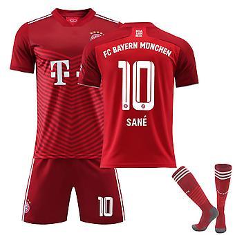 Sane #10 Jersey Home 2021-2022 Ny säsong FC Bayern München Fotboll T-Shirts Jersey Set för barn ungdomar