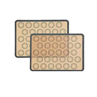 Set mit 2 Silikon-Backmatten - Antihaft-Backmatte für Makronen, Kekse, Makronen, Kuchen, Brot, Bpa-frei (42 x 29,5 cm, grau)