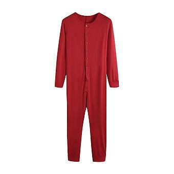 Men Long Sleeve One-piece Jumpsuit Pyjamas Sleepwear Playsuit Nightwear