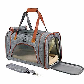 Portable And Portable Foldable Single-shoulder Pet Bag (light Gray)
