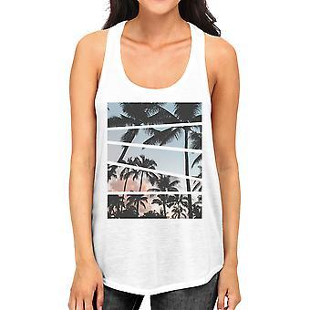 Palm Trees California Sunset Photography Women Graphic Tanks Cotton