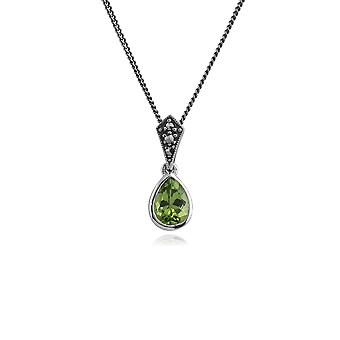 Art Deco Style Oval Pear Peridot & Marcasite Pendant Necklace in 925 Sterling Silver 214N515602925