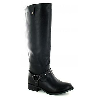 Spot On Womens/Ladies Studded Ring Strap Knee High Boots