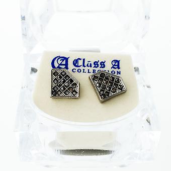 Sort bling Ice ud øreringe - cubic zirconia 12 mm
