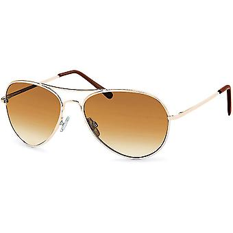Bling metall solglasögon - pilot guld / brun