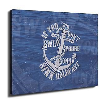 Swimmer Motivation Wall Art Canvas 40cm x 30cm | Wellcoda