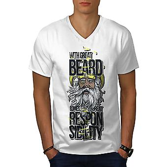 Beard Responsible Funy Men WhiteV-Neck T-shirt | Wellcoda