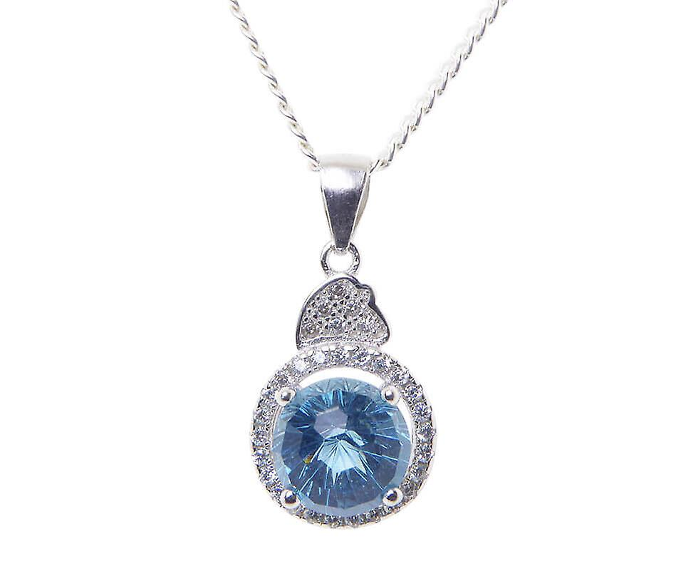Silver cubic zirconia pendant with synthetic Topaz