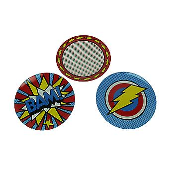 BooginHead BAM Cool Comic Style Melamine Plate Set of 3