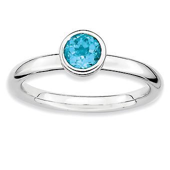925 Sterling Silber Lünette poliert Rhodium vergoldet stapelbare Ausdrücke niedrigen 5mm Runde blau Topas Ring Schmuck Geschenke für