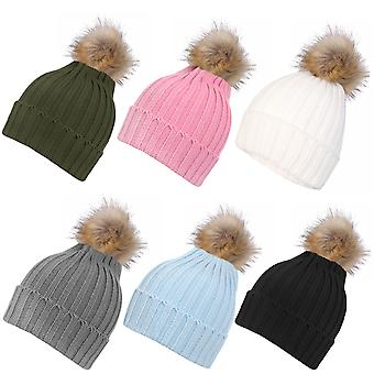 Inspirations Womens Fluffy Faux Fur Pom Pom Beanie Hat Knitted Bobble Hat
