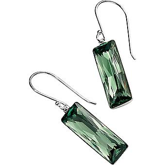 Элементы серебряный прямоугольный крюк серьги - серебро/зеленый