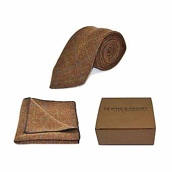 Erbe Check Zeder Krawatte braun & Tasche Platz Set - Tweed, karierten Country-Look | Boxed