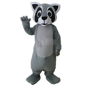mascot SPOTSOUND of raccoon, gray, black and white, very realistic