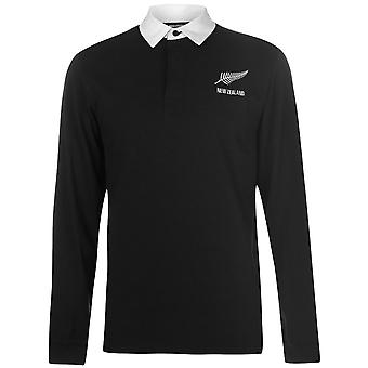 Team heren lange mouw Rugby Jersey Shirt katoen knop Placket vouw Over kraag