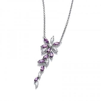 Cavendish French Silver and Amethyst Cubic Zirconia Floral Necklace