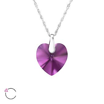 Hjärta kristall från Swarovski® - 925 Sterling Silver Halsband - W27744X
