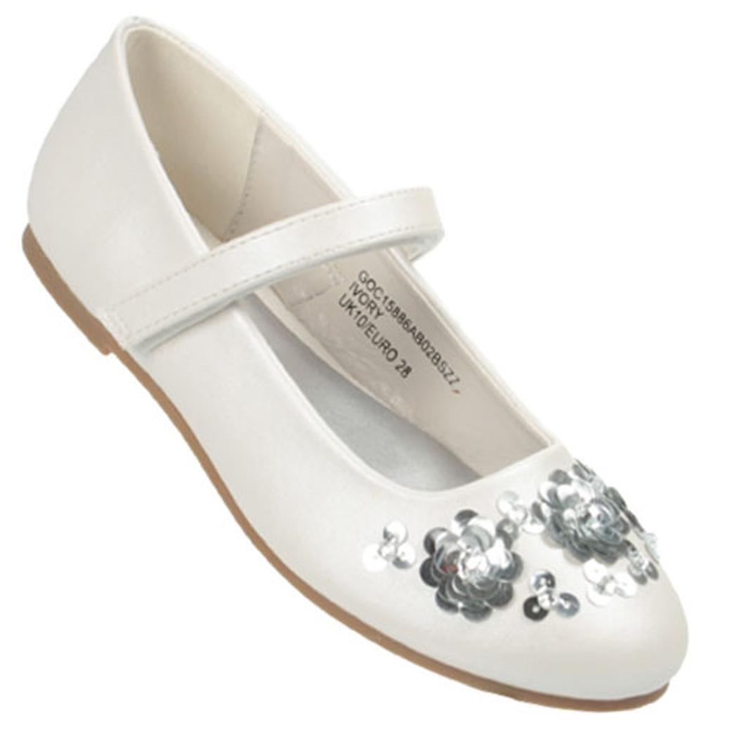 Girls off white ballerina shoes with silver sequin flower trims