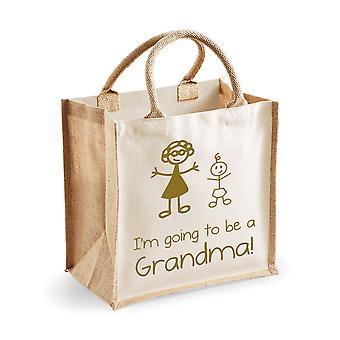Mittlere natürliche Gold Jute-Tasche I 'm gonna eine Oma werden