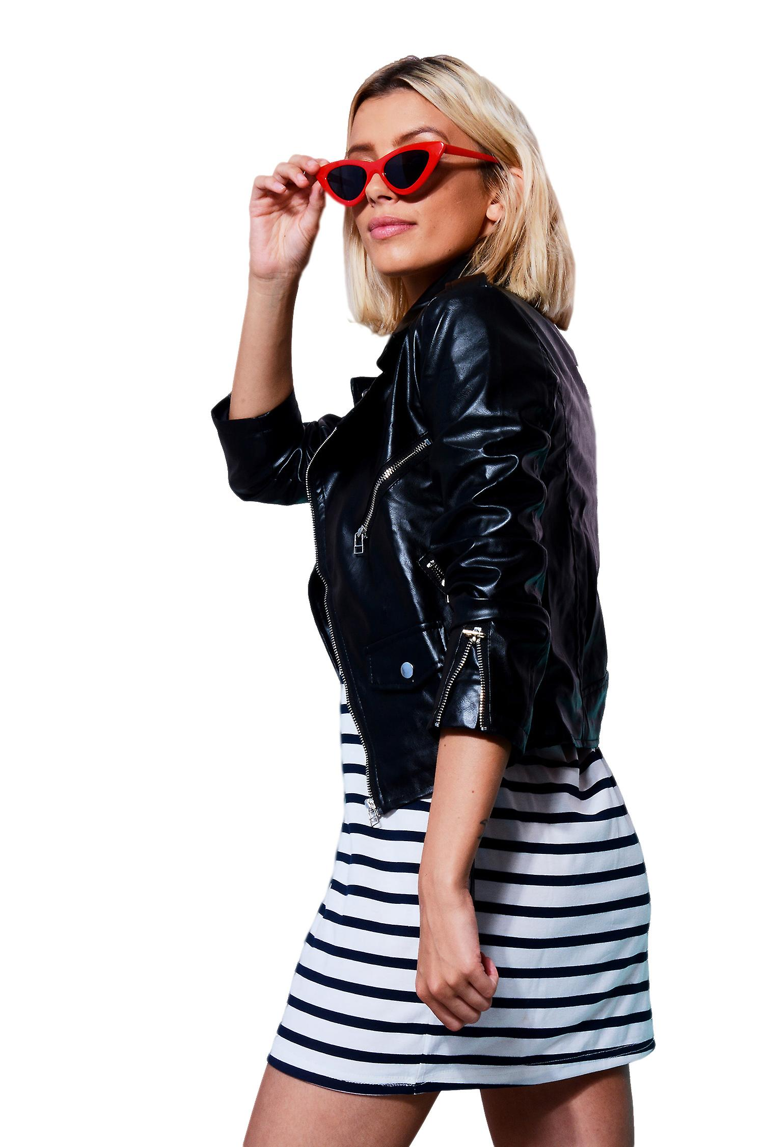 Lovemystyle Classic Black Leather Jacket With Gold Hardware