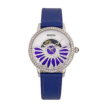 Bertha Adaline Helmiäinen nahka bändi Watch - violetti