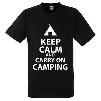 Pysy rauhallisena ja jatkaa Camping t-paita