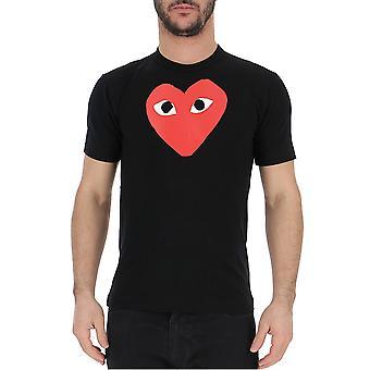 Comme Des Garçons Play T1120511 Men's Black/red Cotton T-shirt