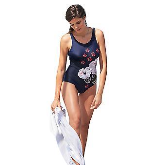 Susa 4256-251 kvinnors asiatiska blomma marin blå blommig kostym en baddräkt