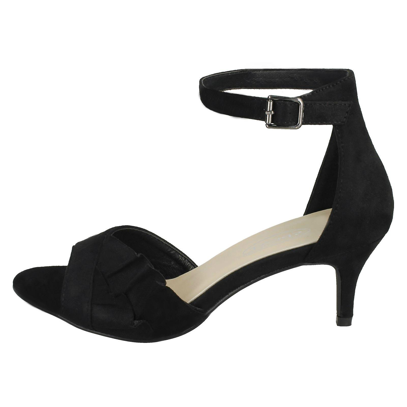 Ladies Spot On Casual Mid Heel Sandal