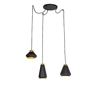 Lampada a sospensione moderna 3-luce nera con oro - Mia