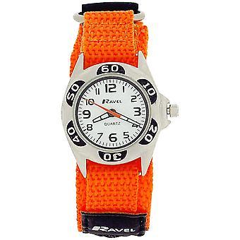 Ravel Boys Quartz White Dial Black & Orange Easy Fasten Boys Watch R1507.48